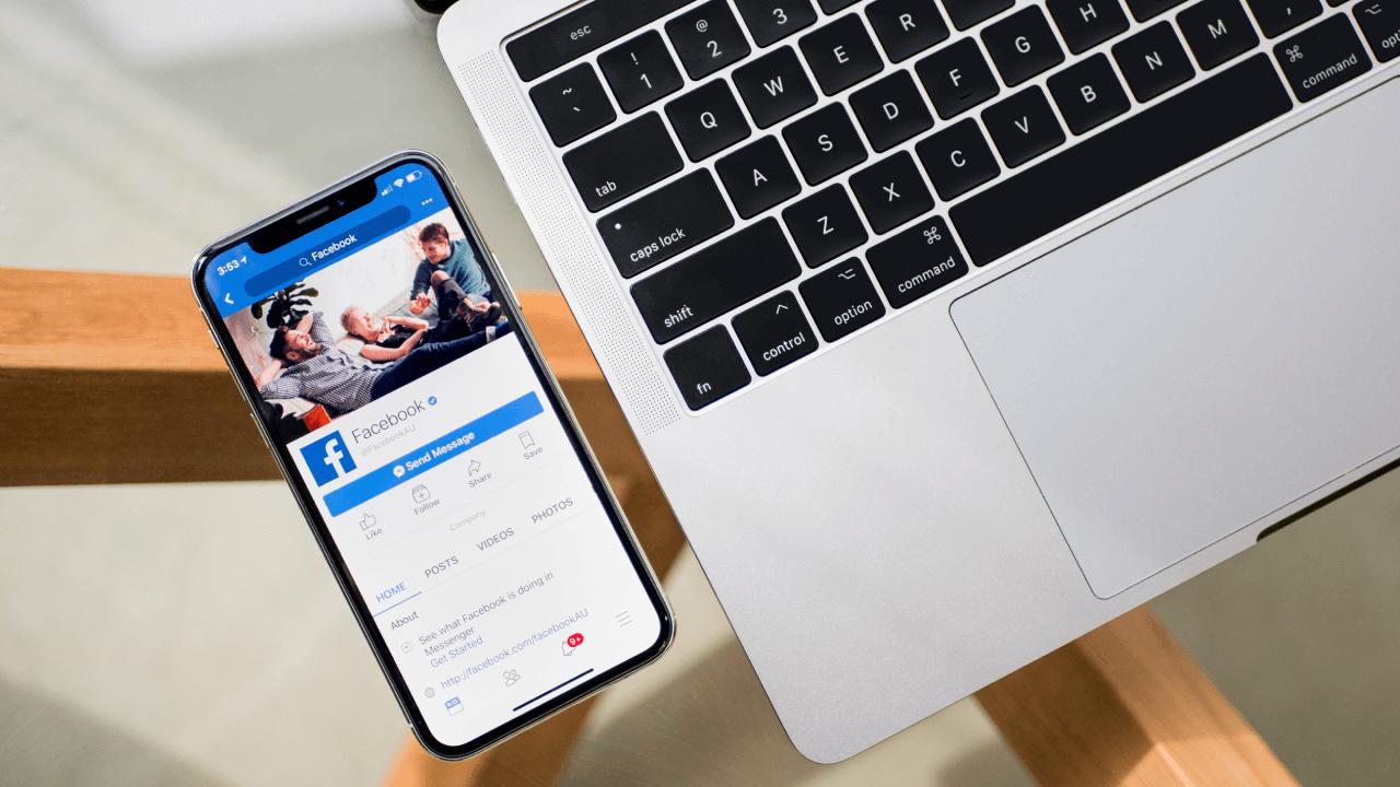 Facebook app shown on cellphone